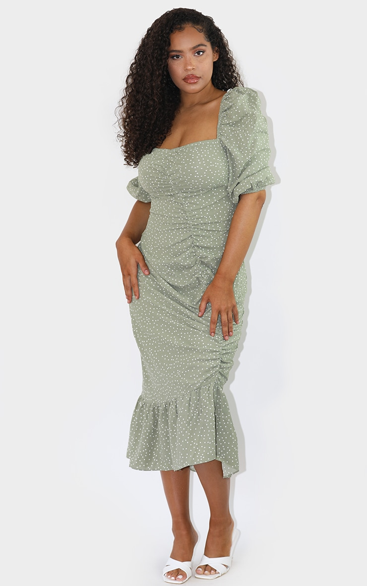 Sage Green Polka Dot Ruched Front Frill Hem Midi Dress 3