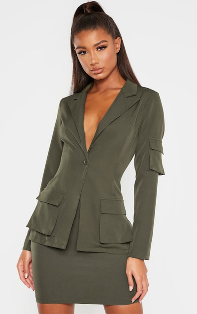 Khaki Woven Pocket Fitted Blazer