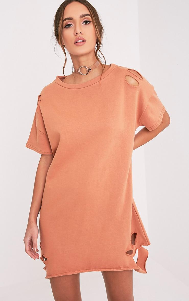 Orla robe pull pêche à manches courtes aspect vieilli 1