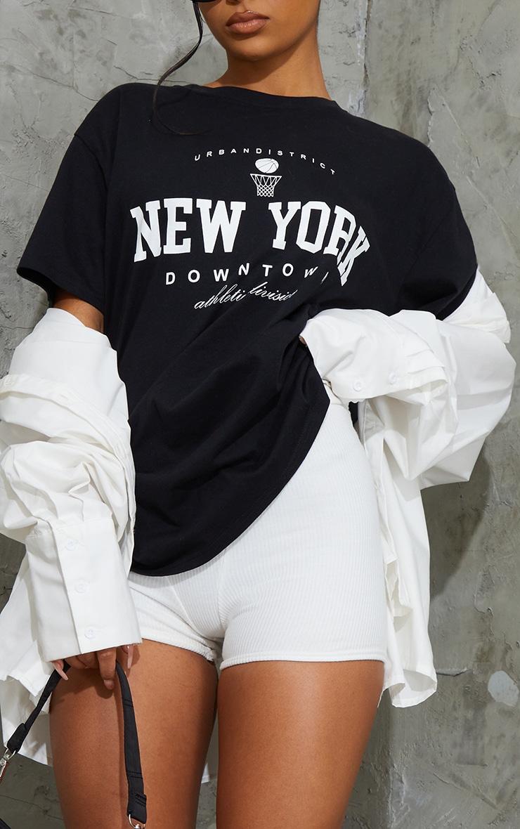Black New York Downtown Slogan Printed T Shirt 4