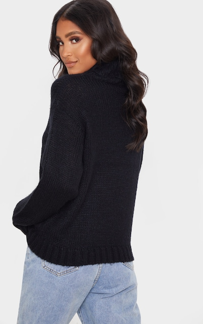 Black Roll Neck Chunky Knit Jumper
