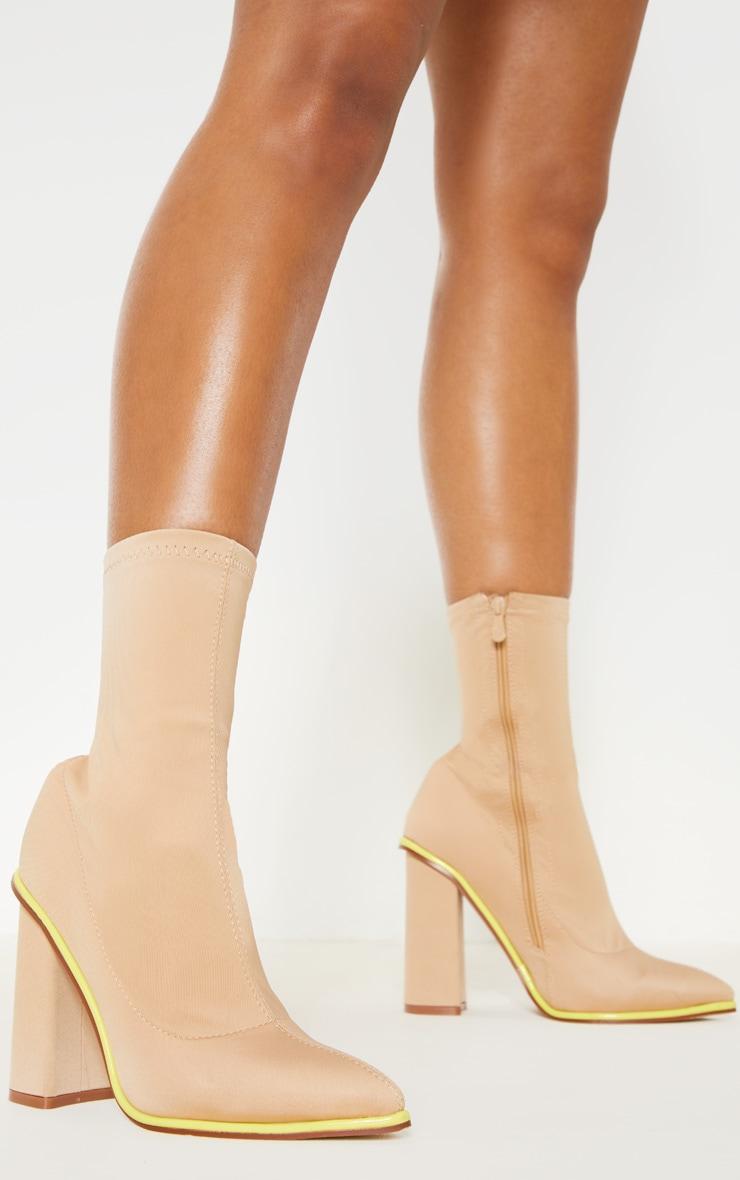 Neon Contrast Trim Block Heel Sock Boot 1