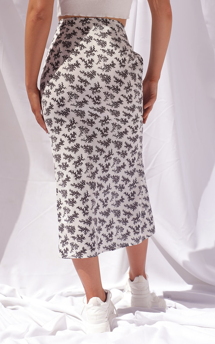 Cream Ditsy Floral Woven Midi Skirt 3
