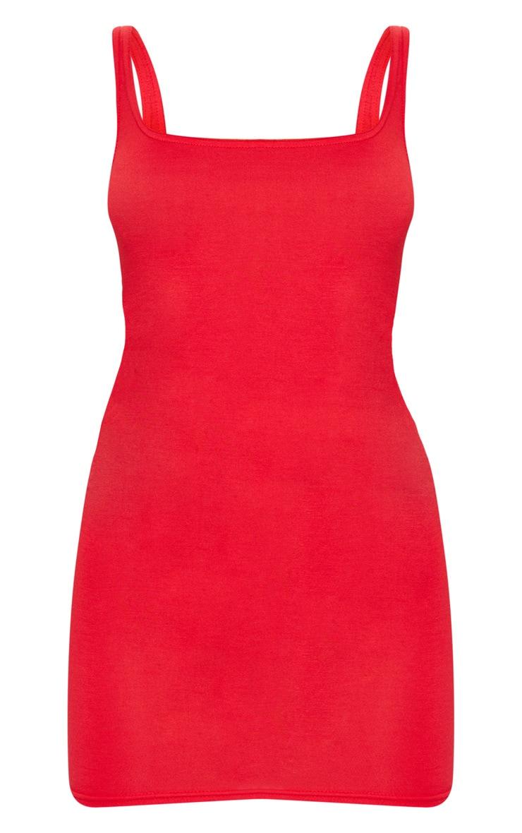 Red Square Neck Bodycon Dress 5