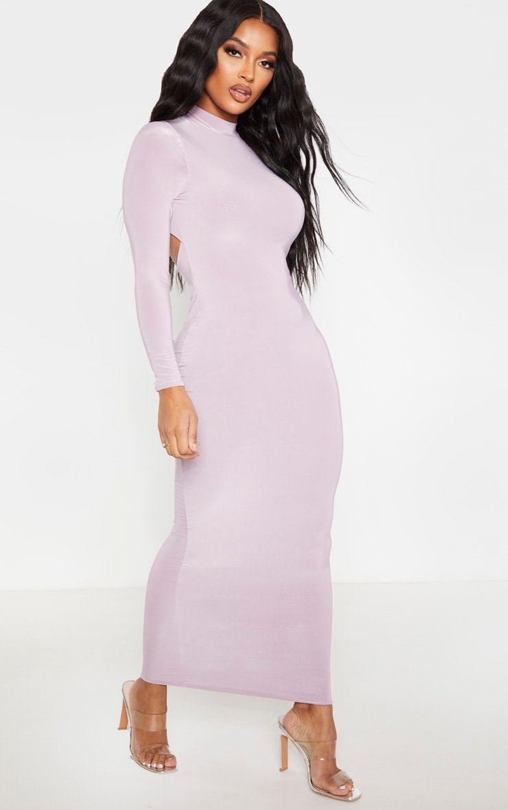 Shape Mauve Slinky High Neck Backless Maxi Dress 4
