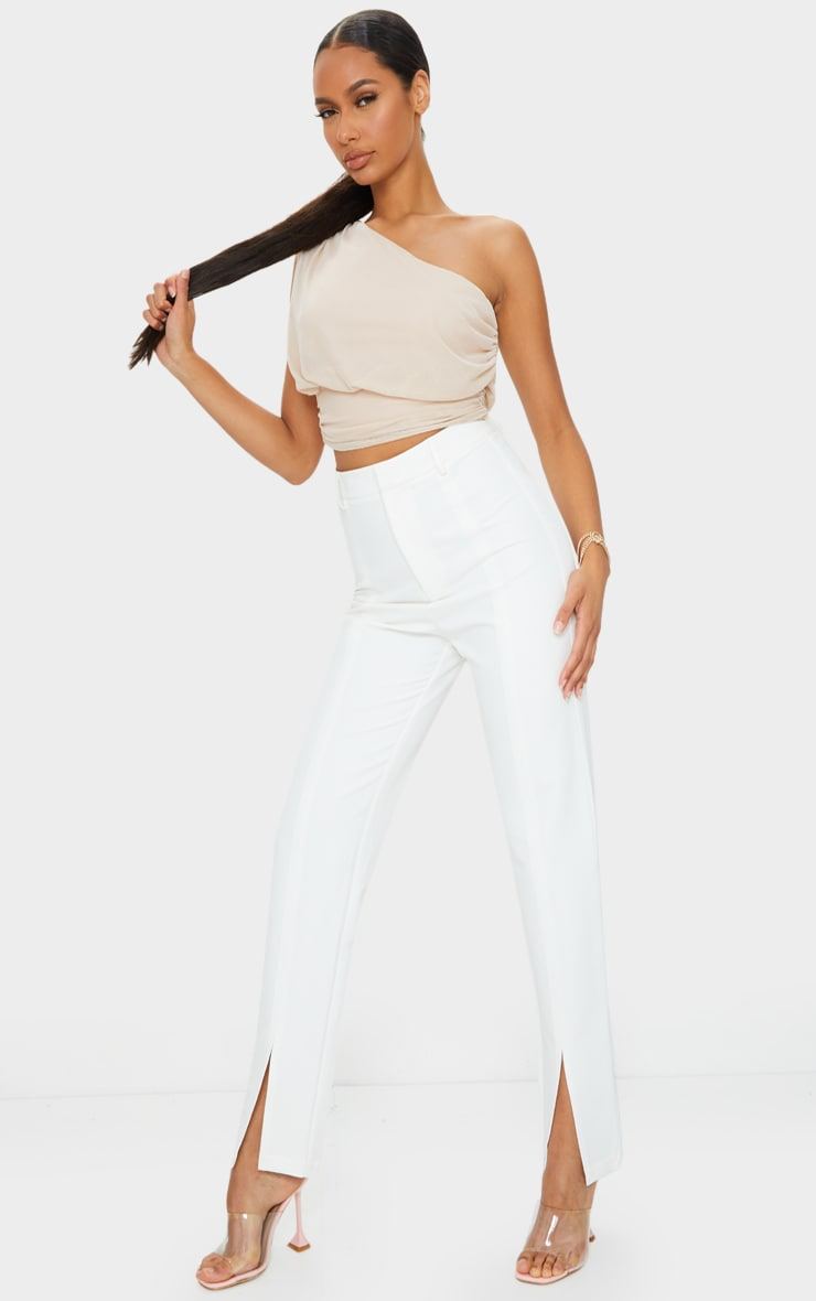 Nude Mesh Ruched One Shoulder Crop Top 3