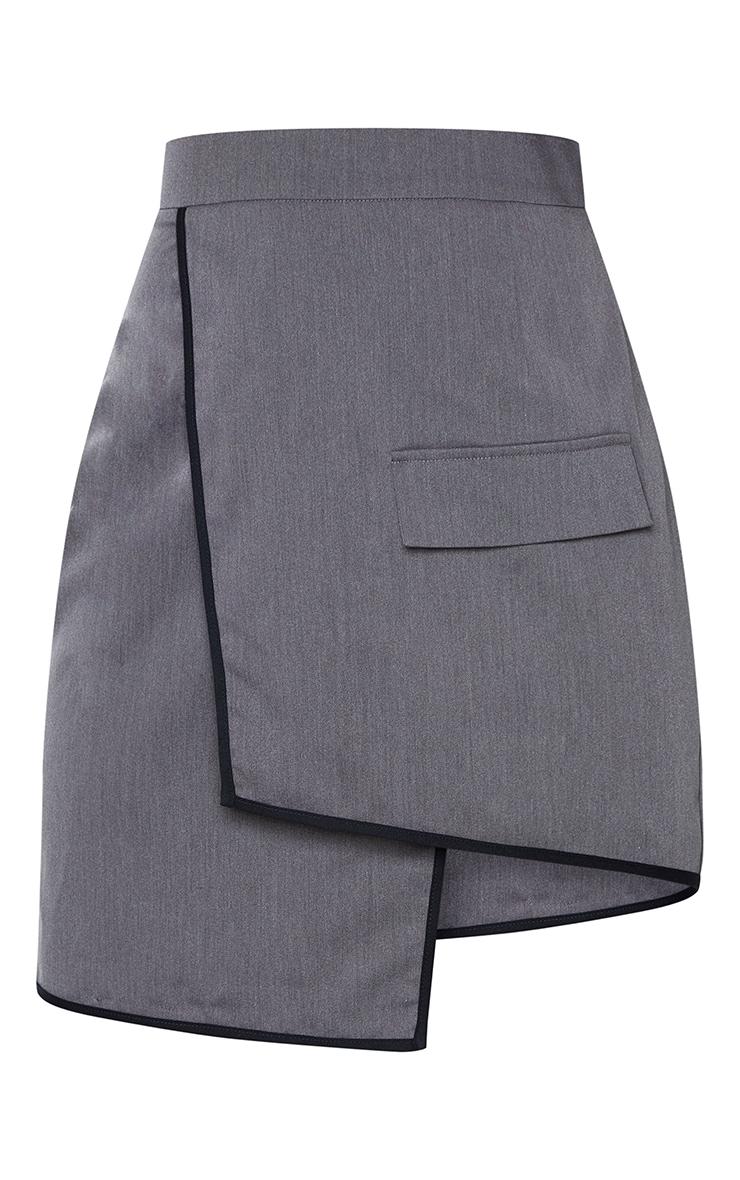 Charcoal Grey Woven Contrast Binding Wrap Over Mini Skirt 5