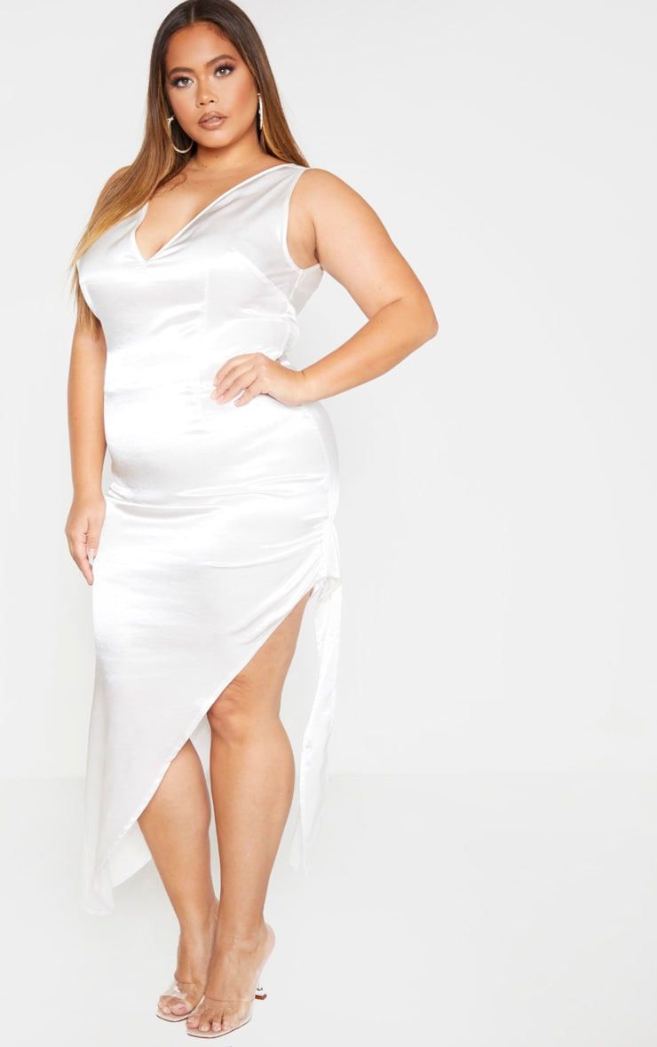 Plus White Satin Curved Hem Midaxi Dress 1