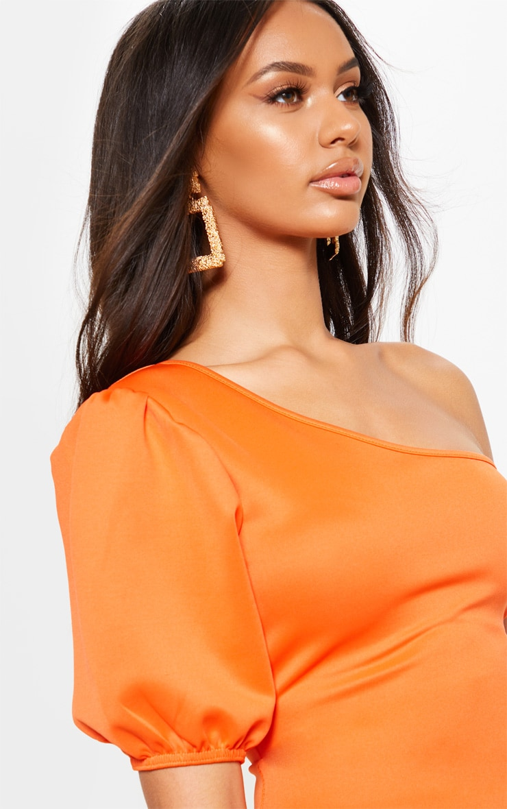 Bright Orange One Shoulder Puff Sleeve Bodycon Dress 5