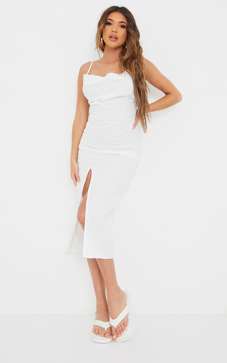 White Broderie Anglaise Cowl Neck Strappy Midi Dress 3
