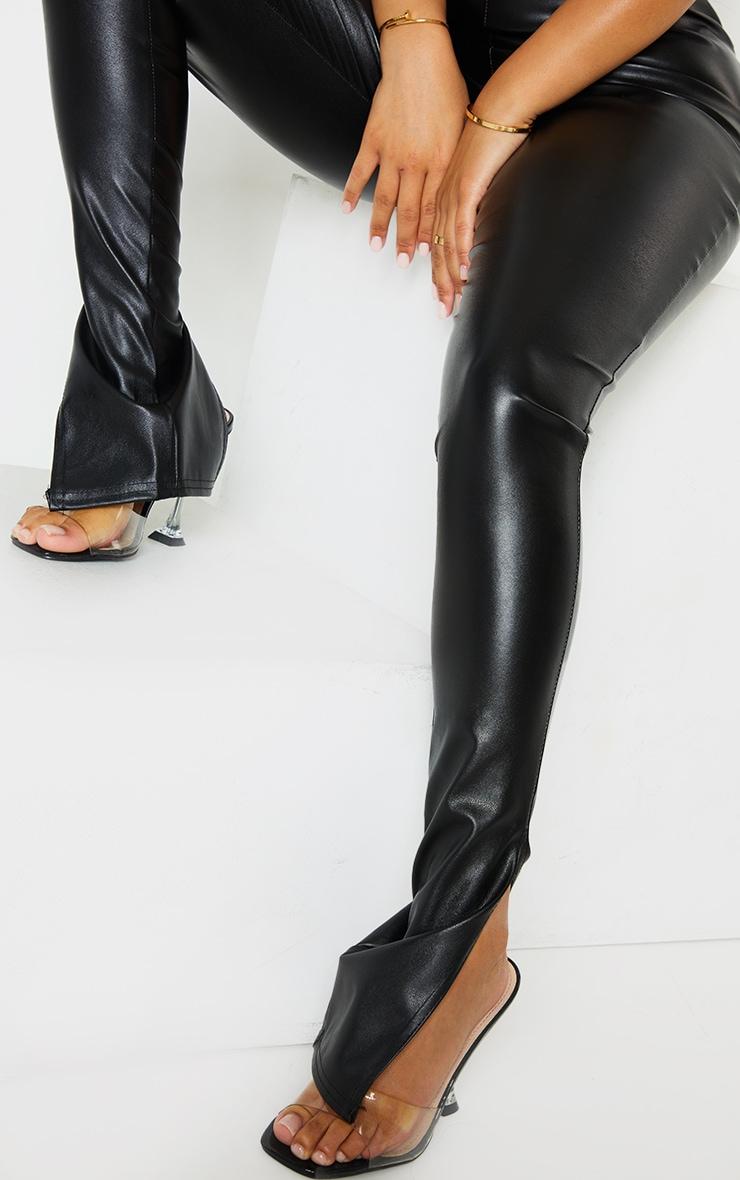 Petite Black Faux Leather Split Hem Leggings 4
