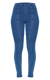 cbb25697f5b Light Wash Panel Front Stitch Skinny Jeans image 3