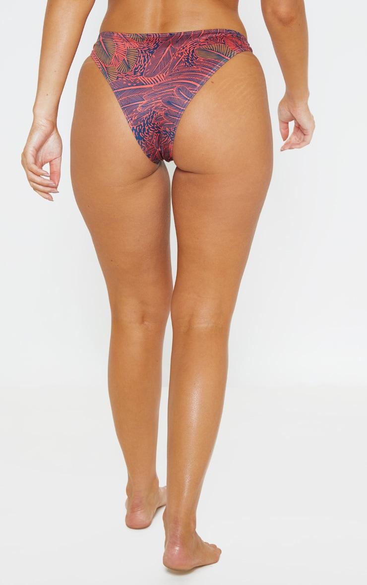 Neon Pink Leaf Print High Leg Bikini Bottom 4