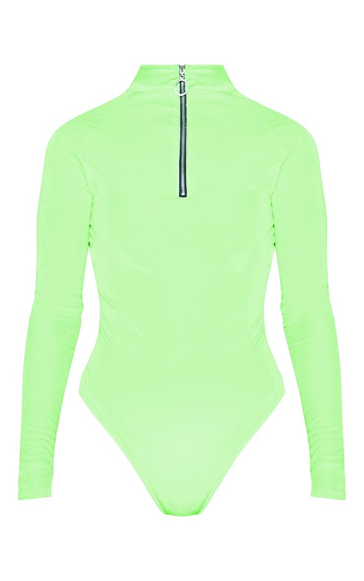 Neon Lime Velvet Zip High Neck Long Sleeve Bodysuit 3