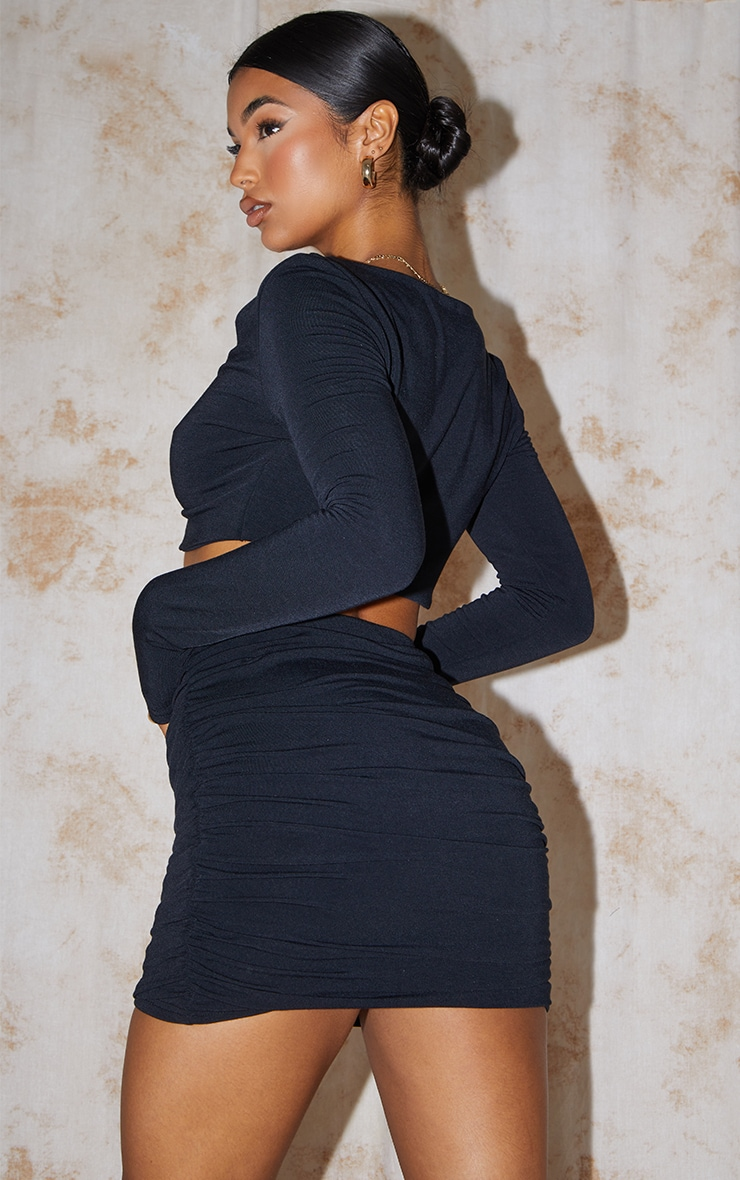 Recycled Black Contour Jersey Ruched Front Crop Top 2
