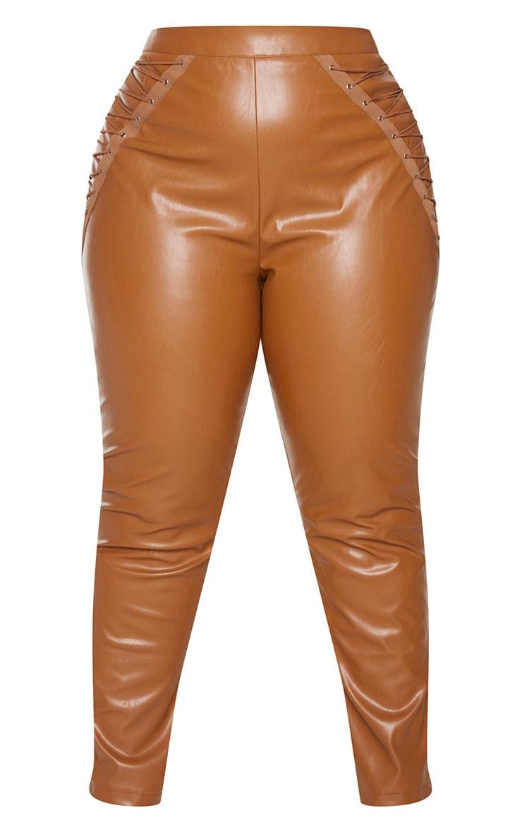 Plus Tan PU Lace Up Detail Pants 5