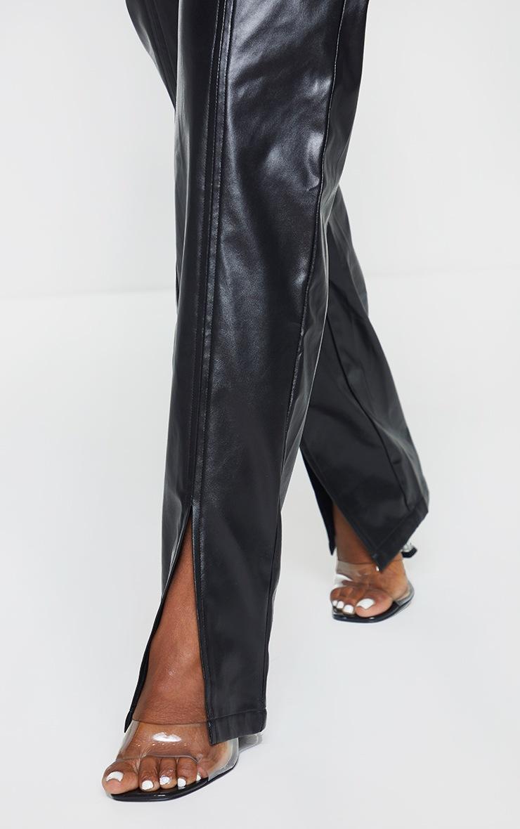 Black Faux Leather Split Hem Seam Detail Skinny Pants 4