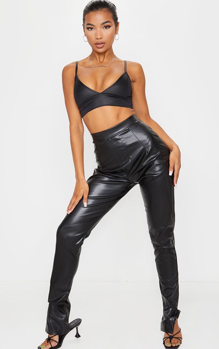 Black Wet Look Bralet  3