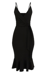 70deb866c9aa ... PrettyLittleThing Read more I agree. Previous. Black Strappy Tie Waist  Fishtail Midi Dress image 2