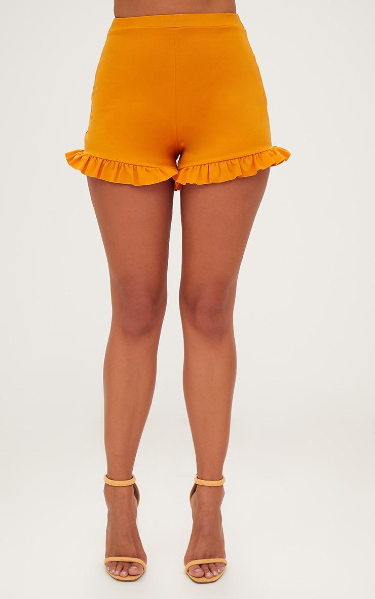 Mustard Frill Hem Shorts 2
