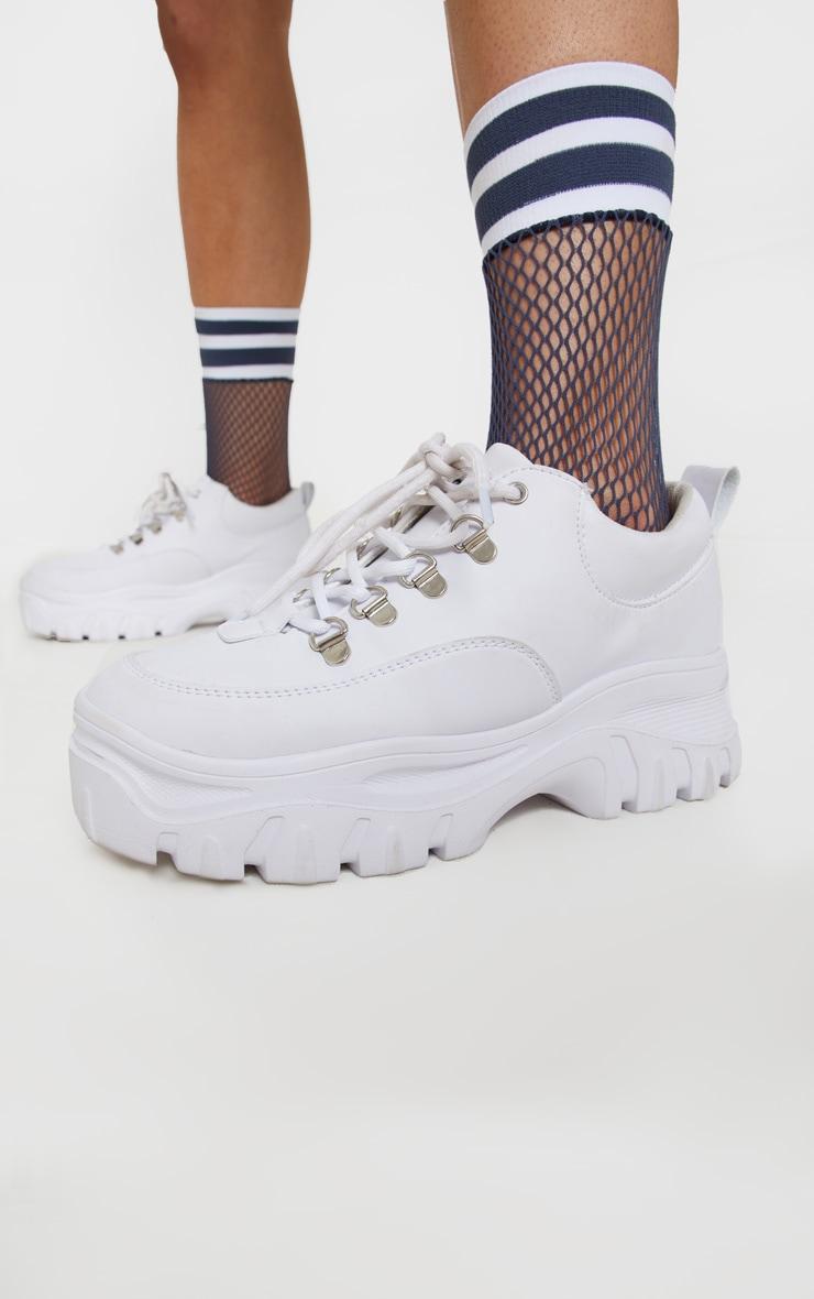 White Sports Fishnet Sock 1