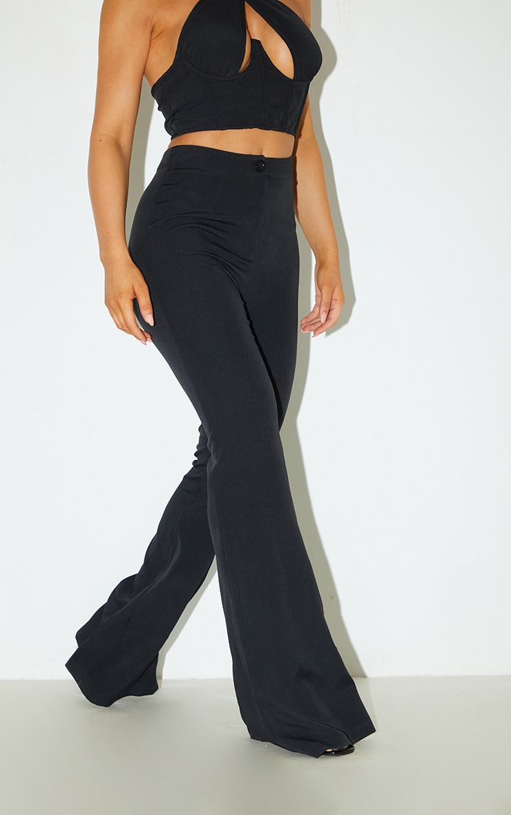 Black Woven Flared Pants 2