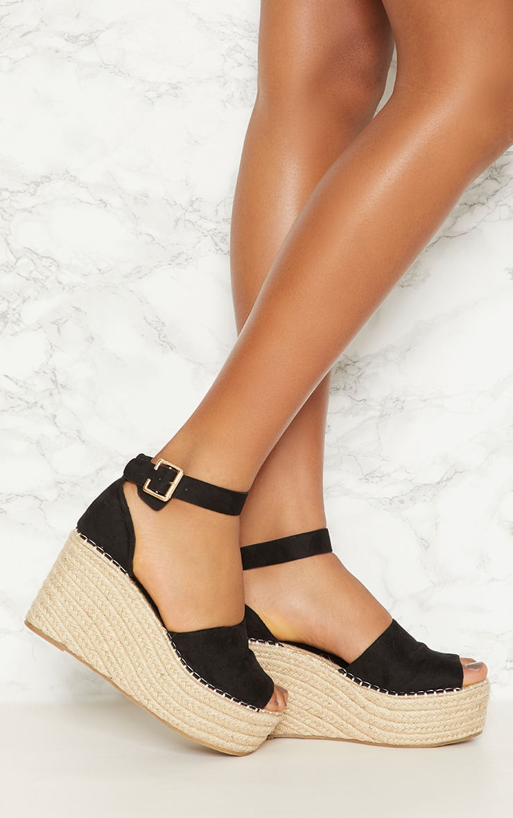 Black Espadrille Wedge 1