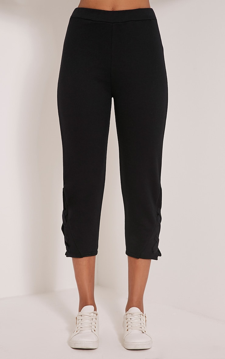 Pia Black Lace Up Side Cropped Joggers 2