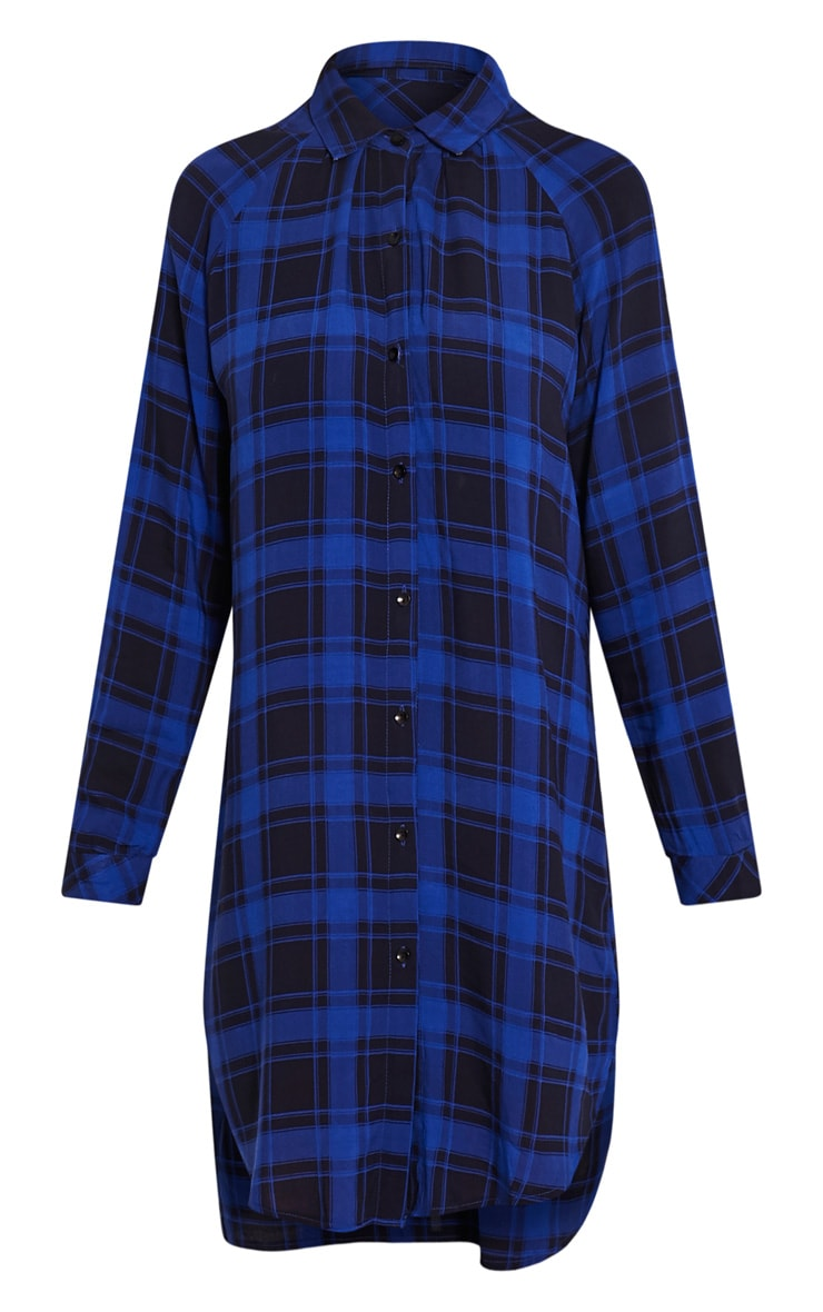Ronah Cobalt Checked Shirt Dress 3