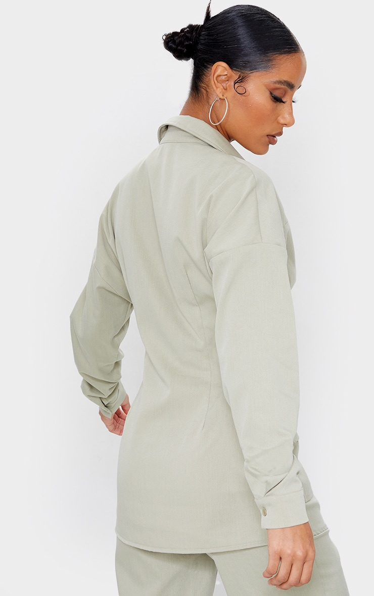 Sage Green Woven Button Up Pocket Detail Fitted Shirt 2