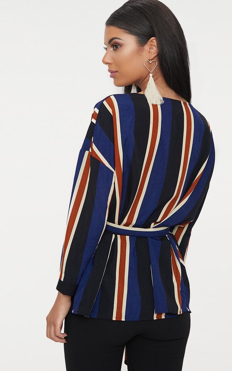 Blue Bold Stripe Tie Waist Blouse 2