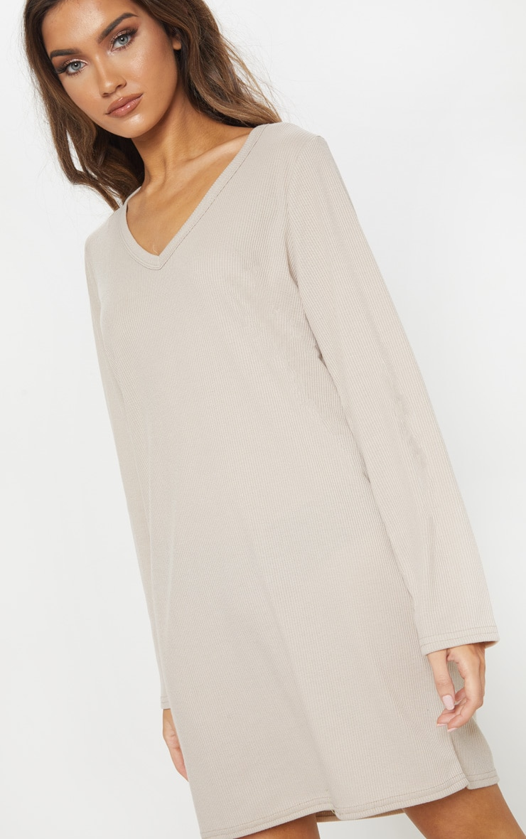 Sand V Neck Ribbed Long Sleeve T Shirt Dress 5
