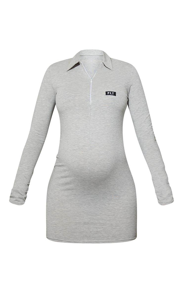 PRETTYLITTLETHING Maternity Grey Cotton Collar Bodycon Dress 5