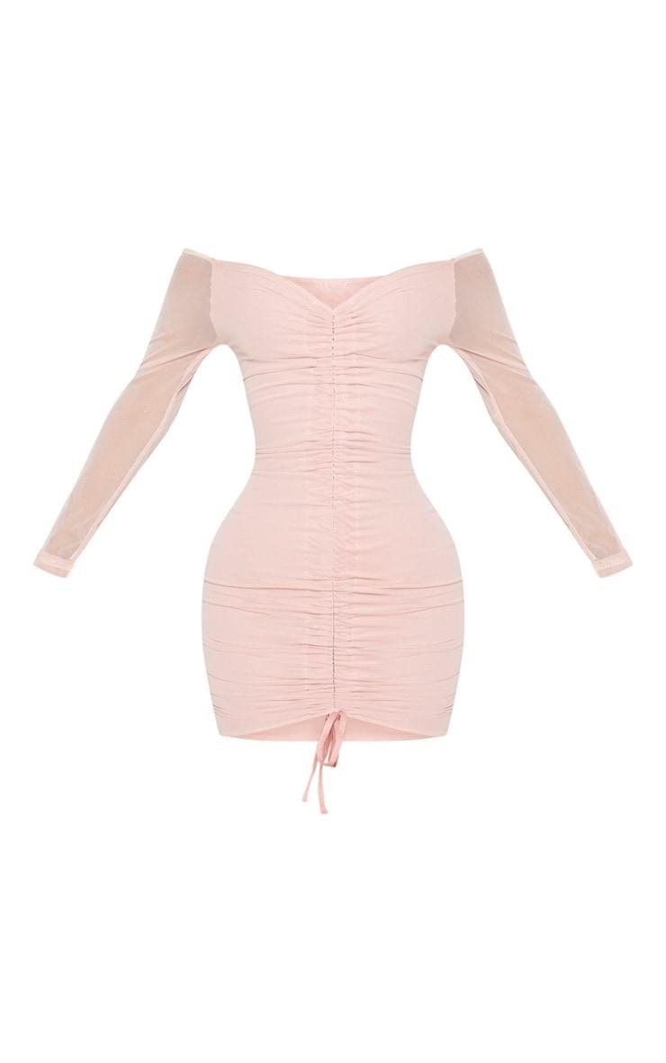 Shape Dusty Rose Mesh Ruched Bardot Bodycon Dress 5