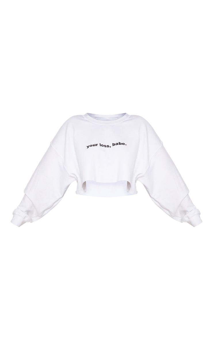 Plus White Your Loss Babe Cropped Sweater 3