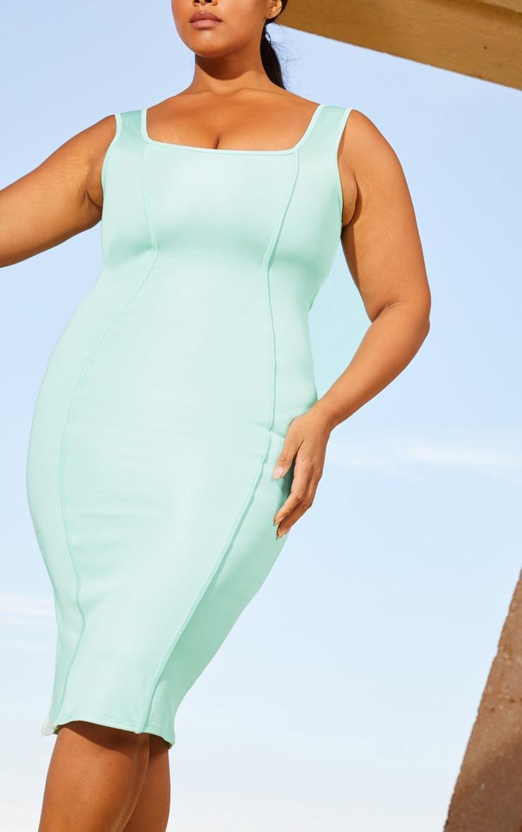 Plus Aqua Second Skin Square Neck Binding Detail Midaxi Dress 5