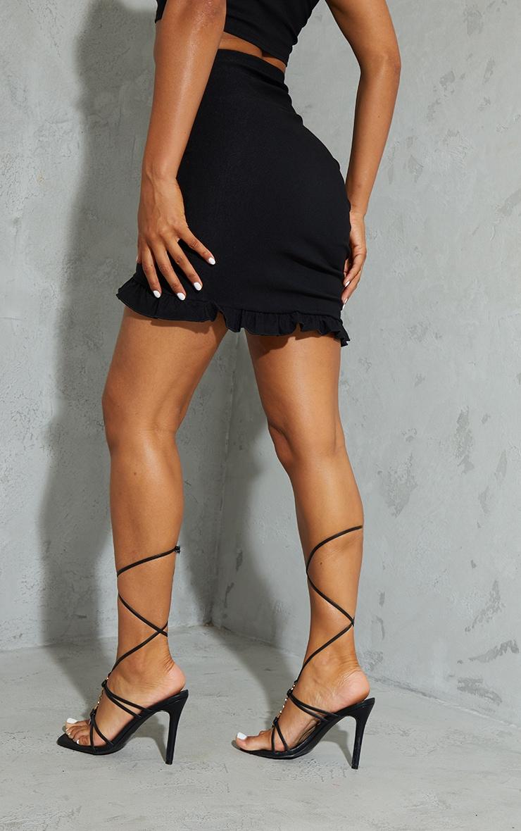 Black Woven Stretch Ruched Side Frill Hem Mini Skirt 3