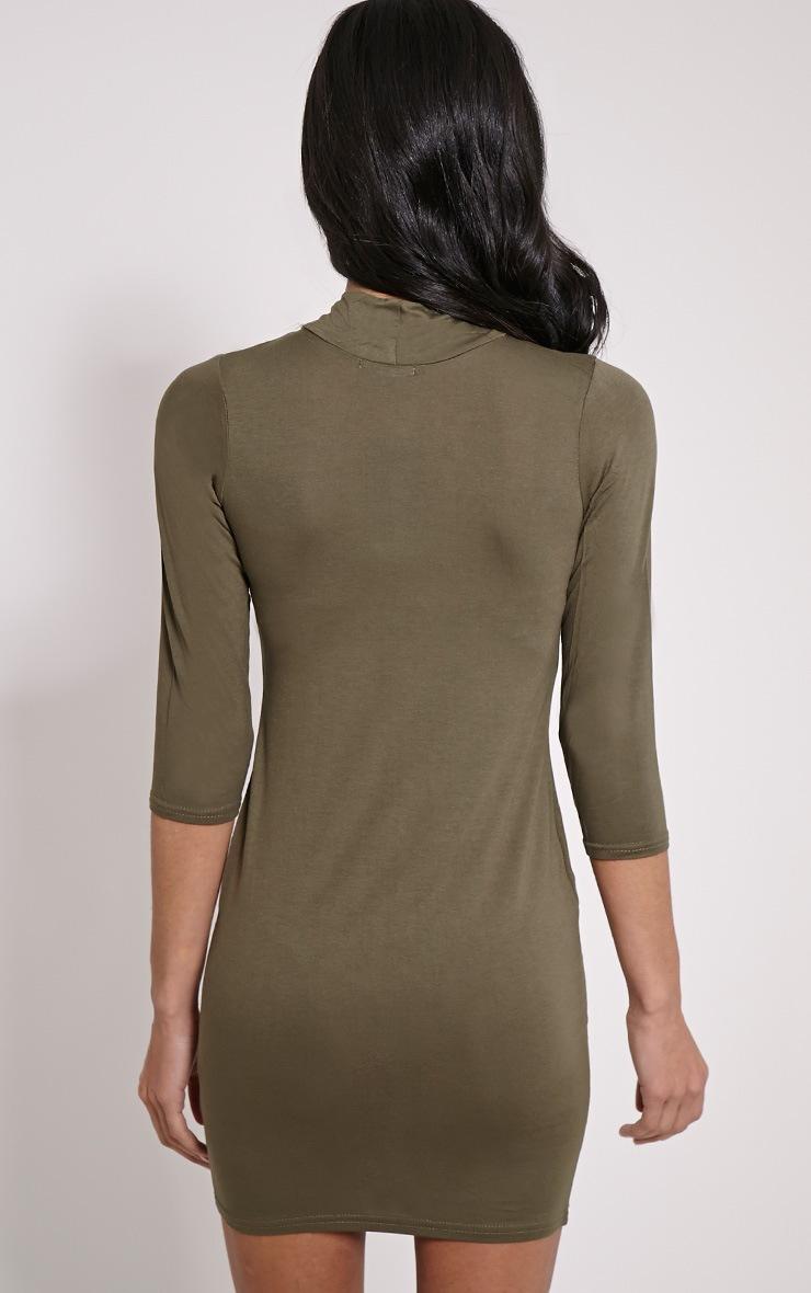Basic robe mini en jersey à col montant kaki 2