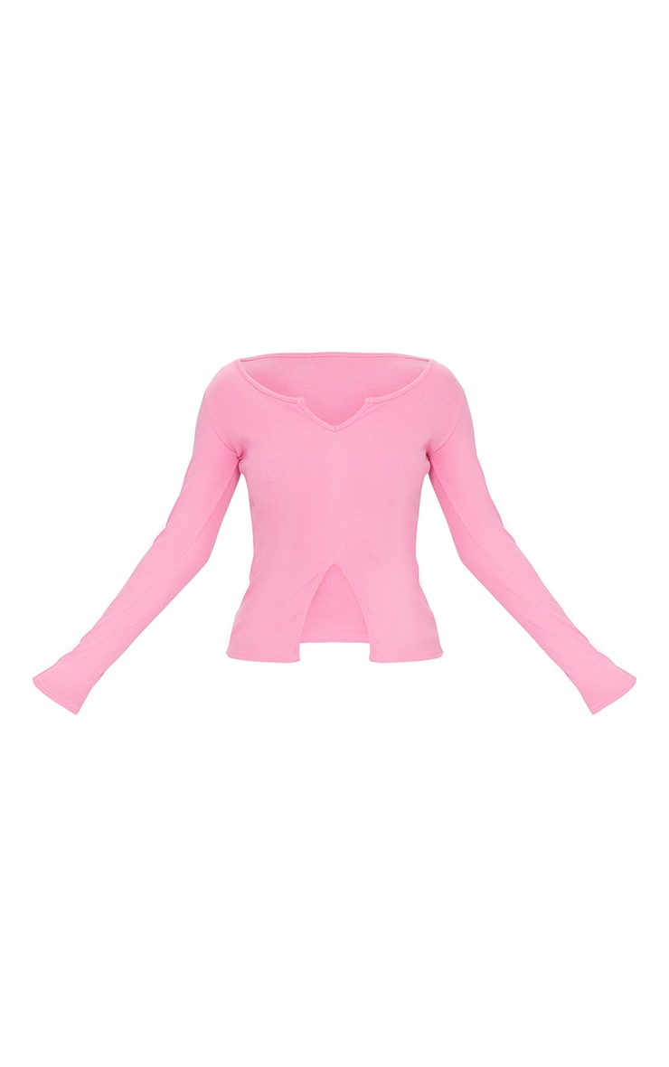 Pink Rib V Cut Out Long Sleeve Top 5