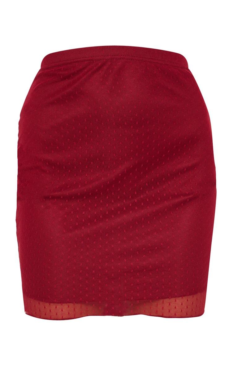 Burgundy Dobby Mesh Mini Skirt 3