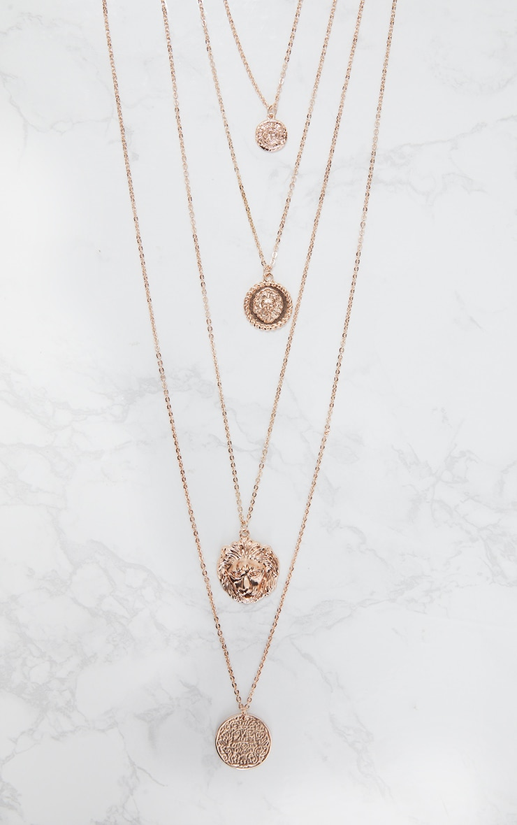 Norie Rose Gold Multi Layered Lion Necklace 4