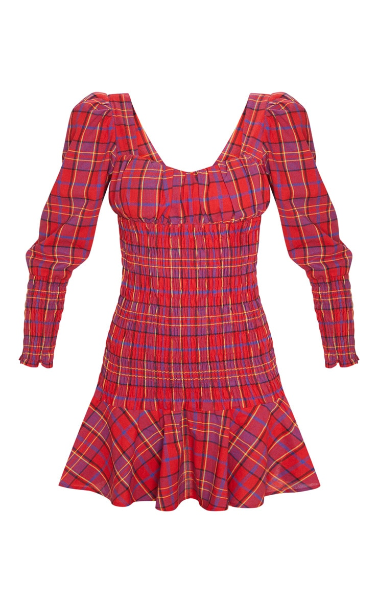 Red Tartan Print Shirred Long Sleeve Bodycon Dress 3