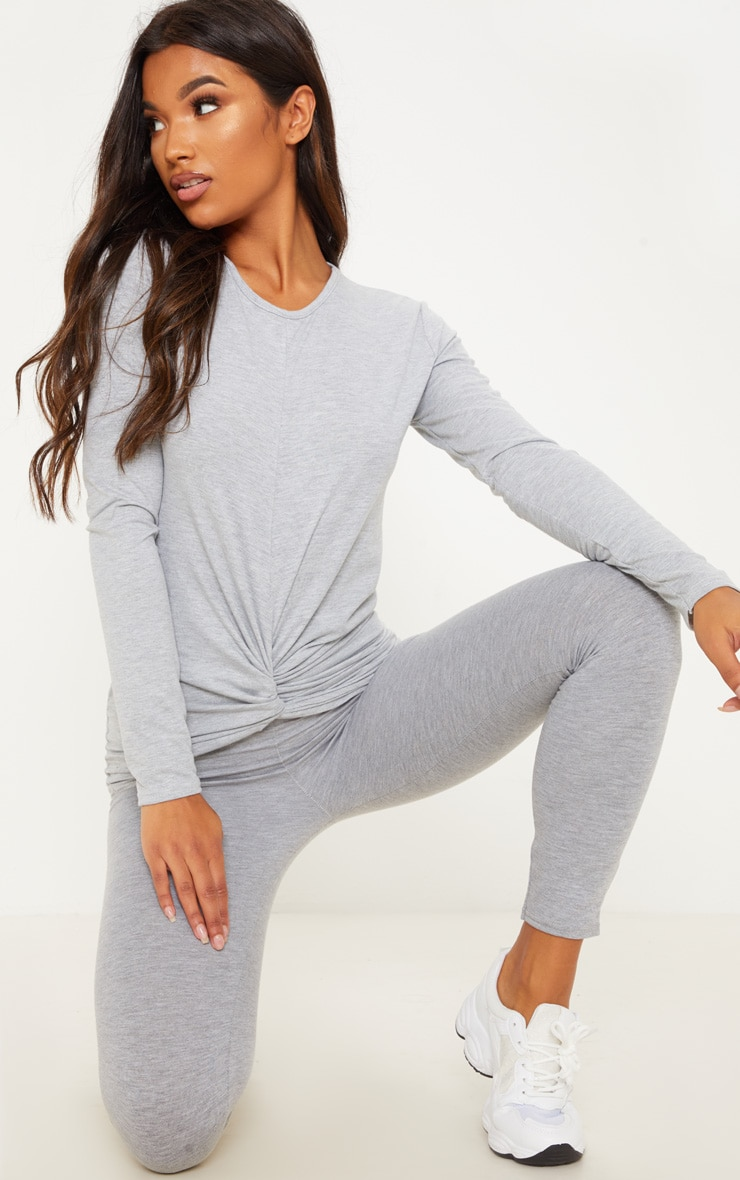 Grey Jersey Knot Detail Long Sleeve Top