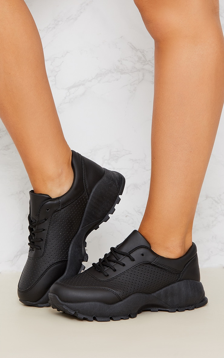 Black Chunky Lace Up Sneakers 2