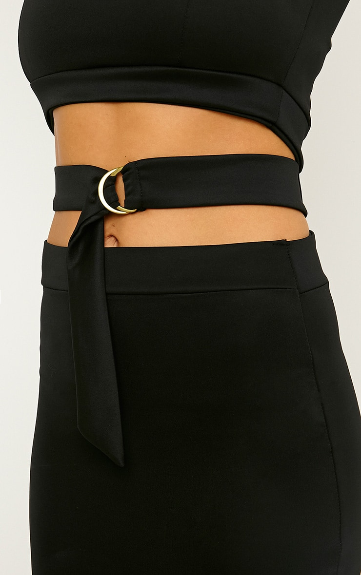 Belle Black Belted Mini Dress 5