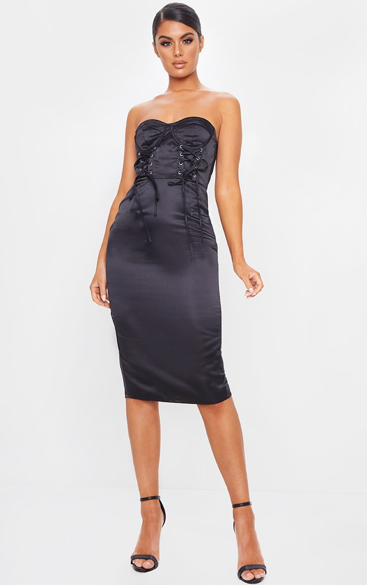 Black Satin Lace Up Cup Detail Bandeau Midi Dress 1