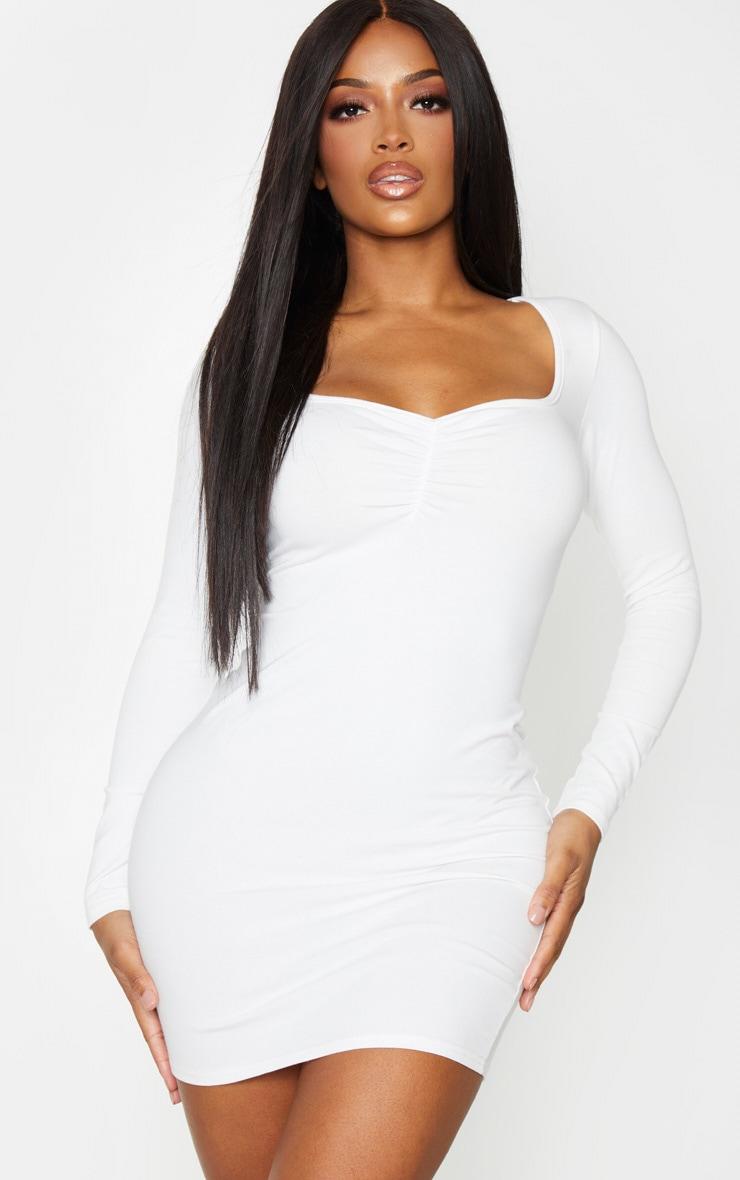 Shape - Robe moulante manches longues en coton crème à buste froncé 1