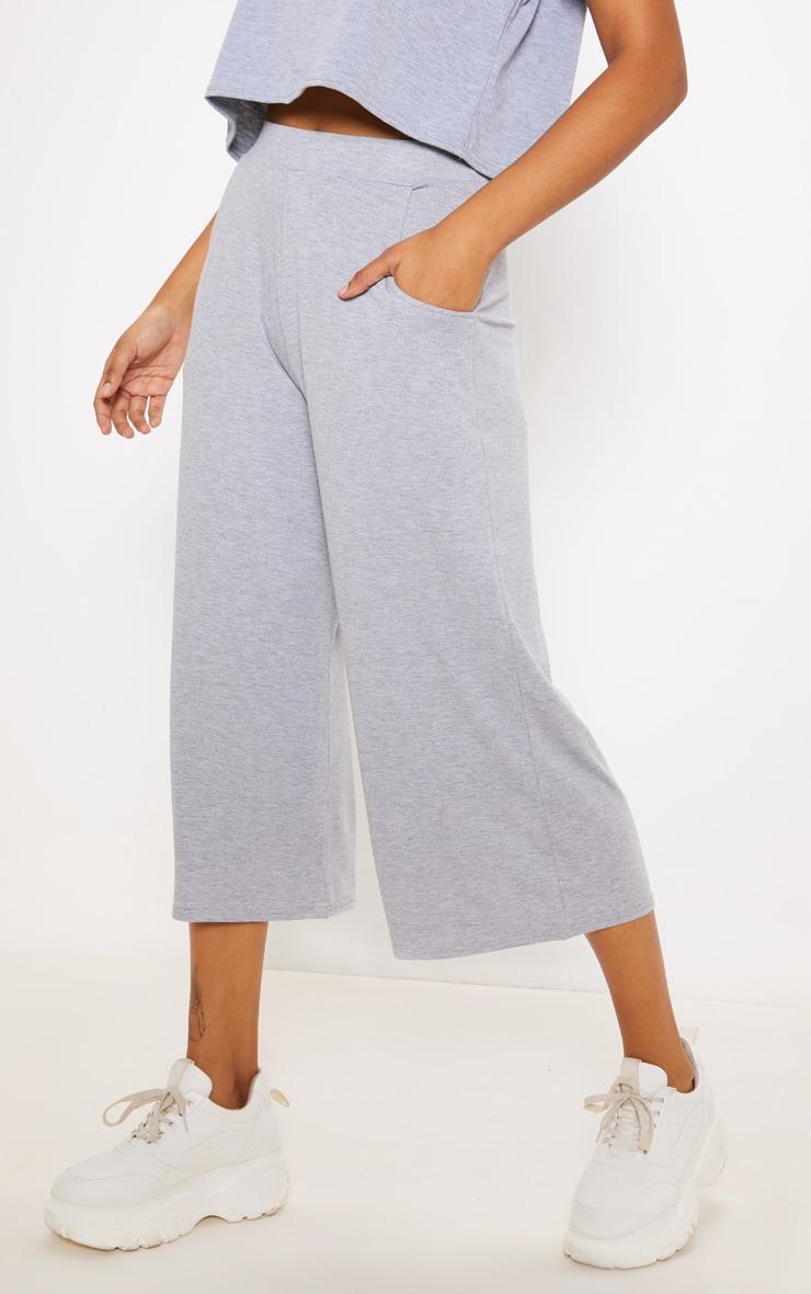 Grey Marl Jersey Pocket Detail Culotte 2