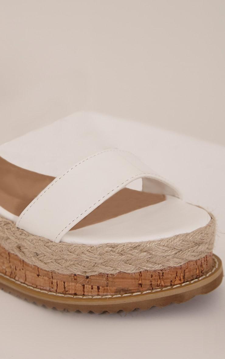 Jacey White Espadrille Flatform Sandals 5