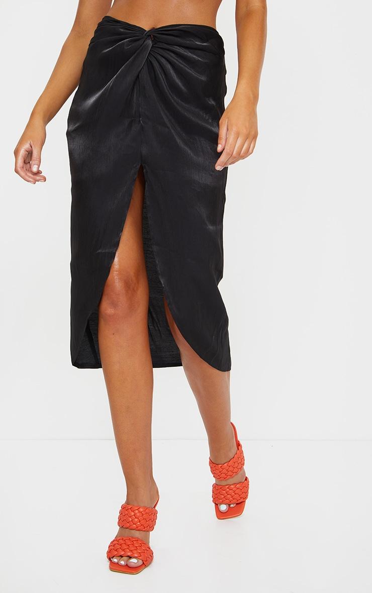 Black Satin Shimmer Twist Front Midi Skirt 2